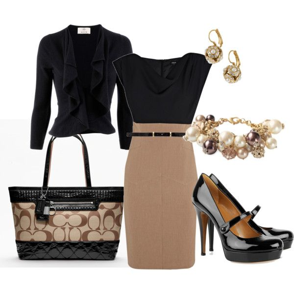 classic color combination for work. I'd wear plain pumps or a leopard