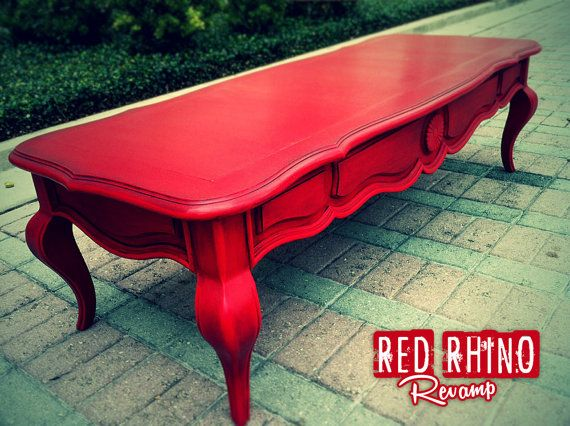 SOLD // Lush Aged Red Coffee/Cocktail Table // by RedRhinoRevamp