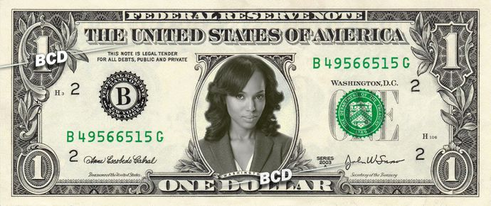 OLIVIA POPE - Kerry Washington - Real Dollar Bill Cash Money Collectible Memorabilia Celebrity by Vincent-the-Artist, $7.77 USD