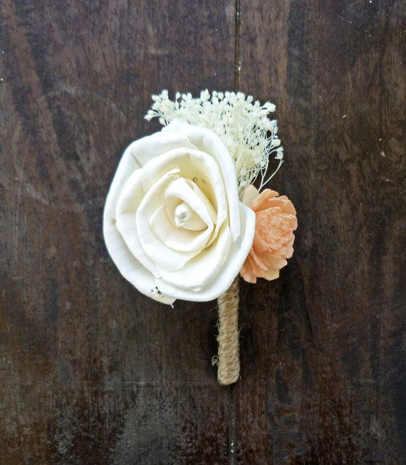 Ivory and Peach Boutonniere Made to Order- Groom Wedding, Buttonhole, Groomsmen, Sola Flower, Wedding, Wedding Flowers on Etsy, $15.00