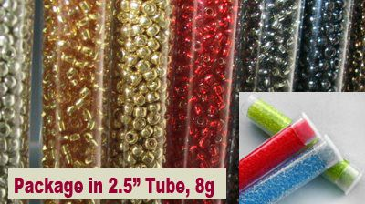 """TOHO Seed Beads in 2.5"""" tube, 8g. Various sizes & colors. Available in-store & on-line at www. ny6design.com"""
