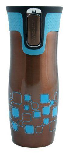 Contigo 1405087 West Loop – Taza térmica de acero inoxidable con botón de cierre y diseño de cuadros -  http://tienda.casuarios.com/contigo-1405087-west-loop-taza-termica-de-acero-inoxidable-con-boton-de-cierre-y-diseno-de-cuadros-470-ml-color-marron/