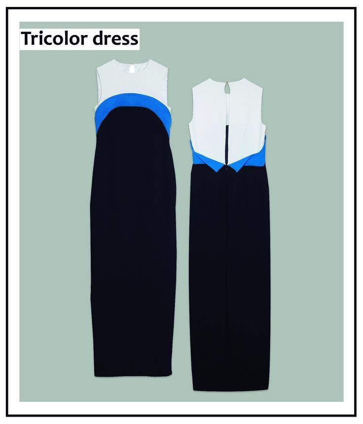Este vestido en tres tonos es una elección perfecta para estas fiestas. ¡Con él no dejarás indiferente a nadie!