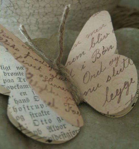 Mariposas papel reciclado (Idea vista en Idemakeriet)