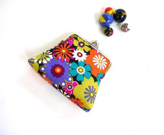 Neon coin purse flower power retro floral clutch by maplemist