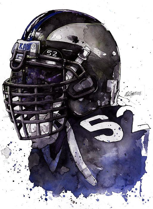 Ray Lewis watercolor by Sports Artist Michael Pattison