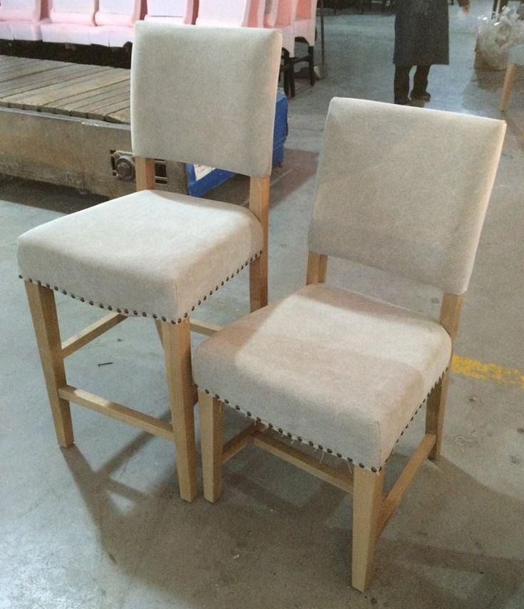 MARABIERTO - Banco de Bar y silla Bordó Tapizado Gris Ceniza (algodón)