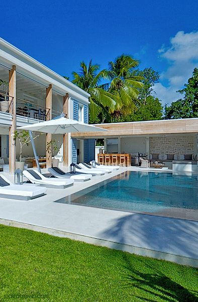 "So this luxury Barbados Villa is called ""The Dream"" how appropriate is that??  Open air everything with a bar setup behind the pool, this would be a perfect setup for a sweet bachelor party or reunion party, etc.."