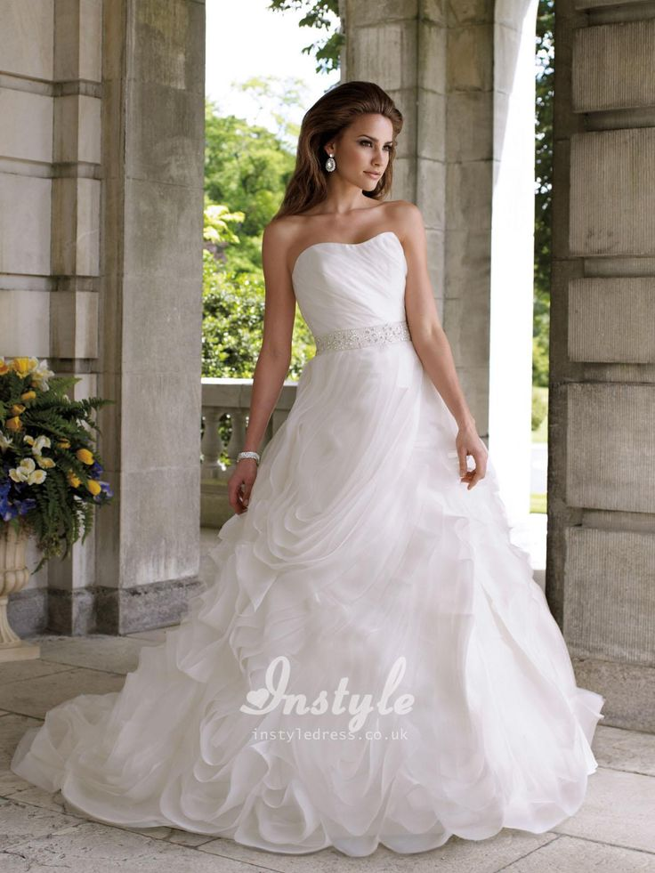 strapless organza ball gown wedding dress uk with hand-cut bias flange skirt