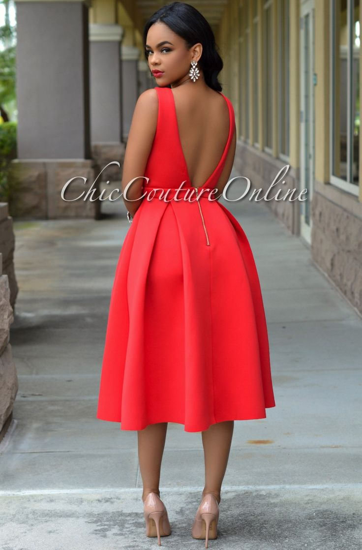 Chic couture online ariana red ponte midi dress http for Red midi dress wedding guest