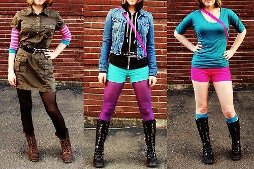 Bright colors, layering, jackets, tights, boots