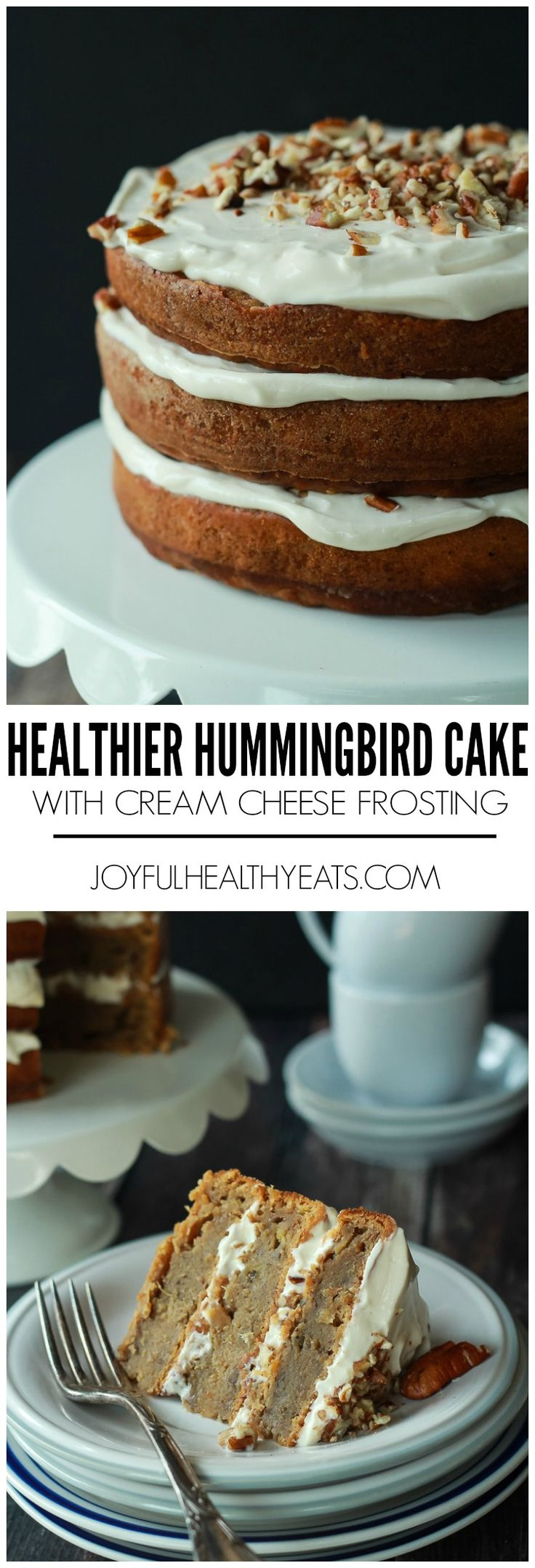 An Easter dessert your family is going to love, Healthier Hummingbird Cake filled with mashed bananas, crushed pineapple, and topped with a light Cream Cheese Frosting! | joyfulhealthyeats.com #recipes