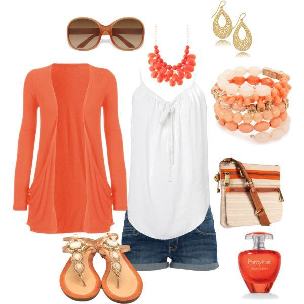 Cute coral summer outfit