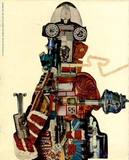 John McHale and the Expendable Ikon    ::    John McHale, Machine-Made America II, collage, 1956. Cover of The Architectural Review, May 1957  Art editor: Gordon Cullen. Source: Mullen Collection
