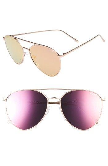 Quay Australia x Jasmine Sanders Indio 60mm Mirrored Aviator Sunglasses at Nordstrom.com. Oversized aviator frames with a flatteringly curved topbar and colorful mirrored lenses are designed in collaboration with social media star Jasmine Sanders and evoke the magic of a desert mirage.