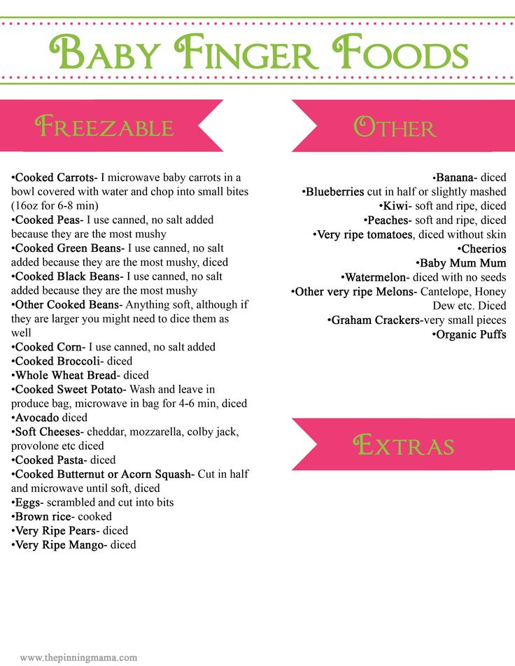 A good list, except I never use canned veggies! And if you are using Baby Led Weaning, all of the dicing is unnecessary. Healthy and Easy Baby Finger Foods | The Pinning Mama