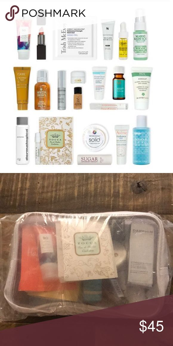21 piece deluxe luxury samples NEW.  R+Co, tocca, NARS, darphin, la mer, kiehls, oribe, avene, Moroccanoil, beautyblender, dermalogica, bliss, bumble and bumble, m-61, fresh, skinceuticals, ren, Mario badescu, molton brown, trish mcevoy, Laura mercier - samples vary.  From Bluemercury.com Sephora Makeup