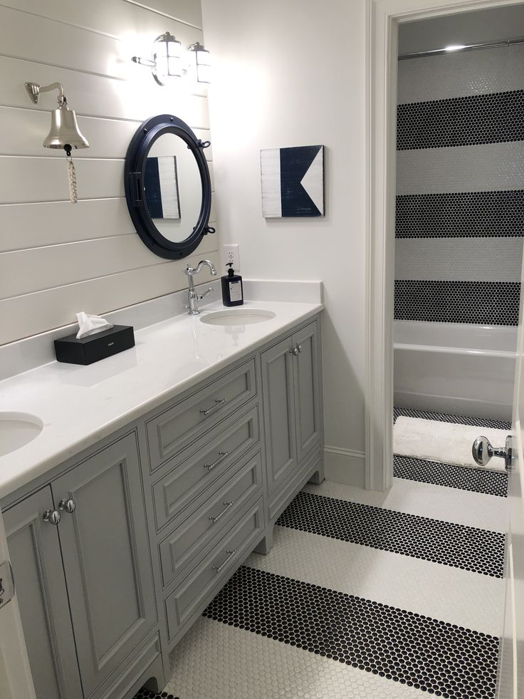 Kids bath - penny round tile in navy and white stripes ...
