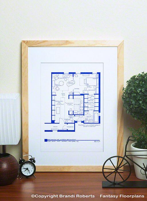 Carrie Bradshaw Appartement Art  Plan d'étage par TVfloorplans