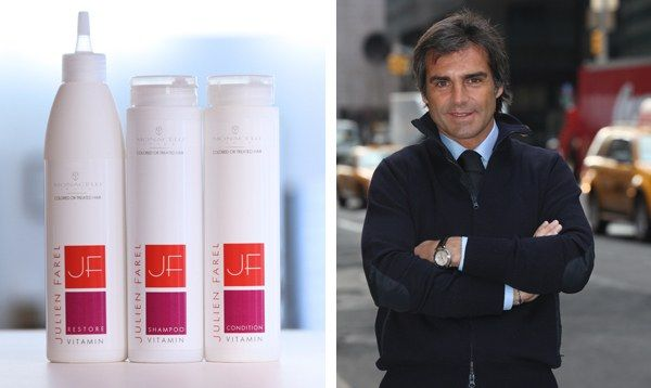 Left: items from Julien Farel's new hair-care line. (photograph by Charles Grantham). Right: Julien Farel. (photograph by Pablo Corradi).