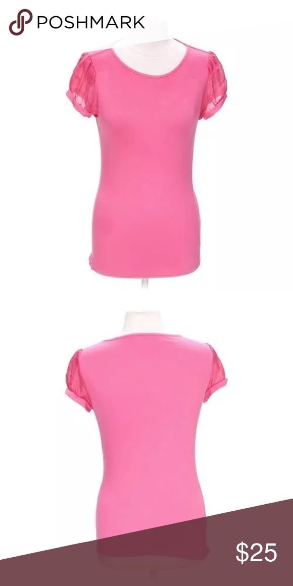 "Pink Short Sleeve Top $165 Pink Short Sleeve Top $165 By: ALICE + OLIVIA     SIZE: XS MATERIAL: 95% Rayon, 5% Spandex; Sleeves: 100% Silk  CONDITION: Overall good with moderate wear from use.  Slight puling at under arm stitching.     MEASUREMENTS:    Length: 24""      Bust: 16"" Alice + Olivia Tops Blouses"