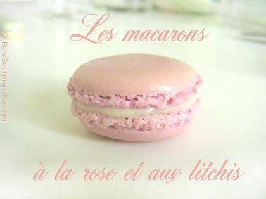 Macarons à la rose et aux litchis > Recette