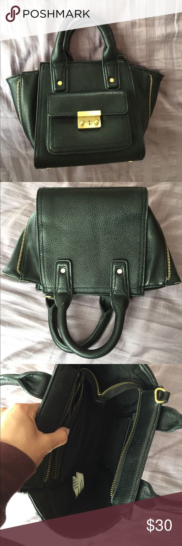 Vintage Black and Gold Cross body Purse Purchased at a Seattle thrift shop. Says target on the inside tag. Not real leather. No crossbody strap but has hooks to easily attatch one. Has some little strap that came with it in the pocket that I don't know what for. Really cute mini bag and made in good quality. Bags Crossbody Bags