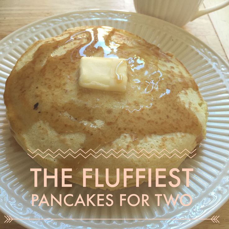 Fluffy, thick, homemade breakfast pancakes for two :) | Small batch sweet vanilla pancakes lathered with butter and maple syrup |