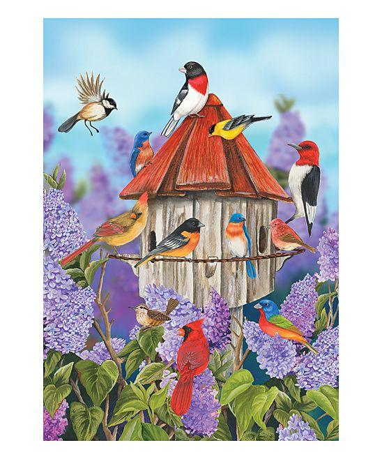 Birds & Lilacs Outdoor Flag