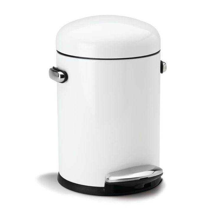 Discover the Simplehuman Round Retro White Steel Pedal Bin - 3L at Amara