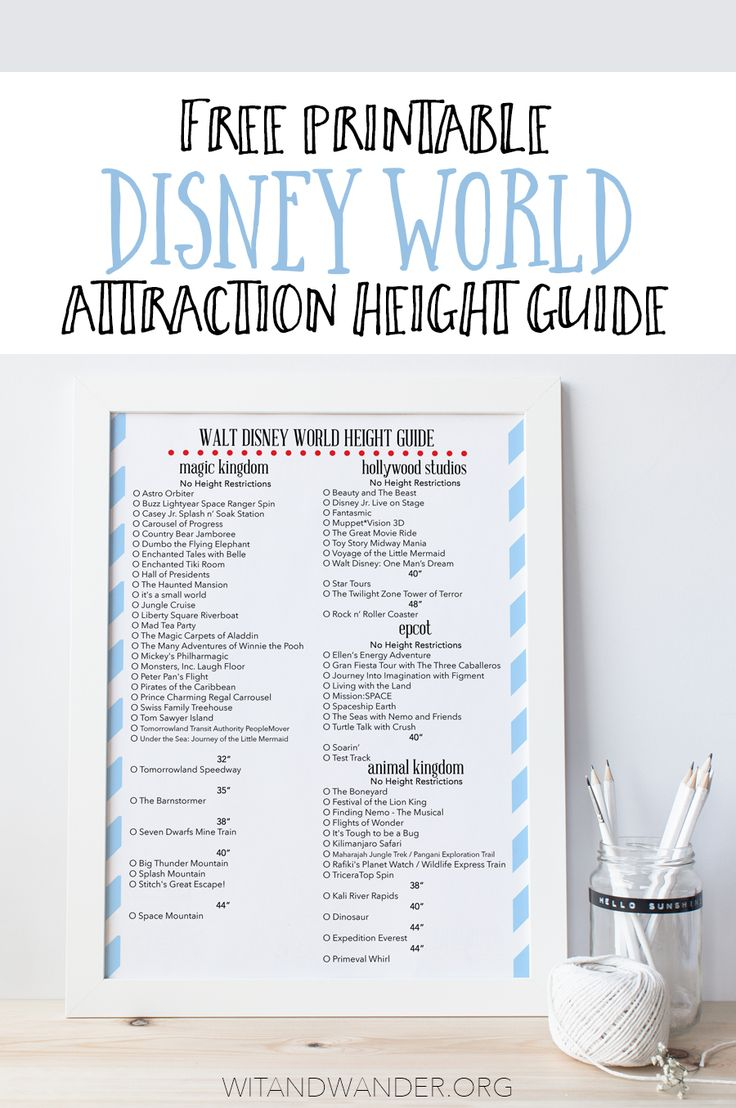 Walt Disney World Attraction Height Guide - Find the height requirements for all four Walt Disney World parks in Florida (Magic Kingdom, Epcot, Hollywood Studios, and Animal Kingdom) in one free printable chart. Know what your kids can and can't ride before you go on vacation with this freebie. Wit & Wander