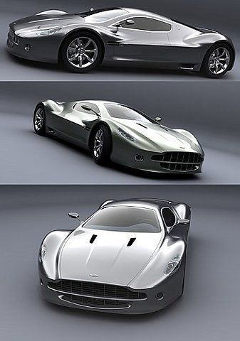 Aston Martin AMV10 Super Sport concept car with carbon fiber bodywork, scissor doors, and a DB9-inspired front end