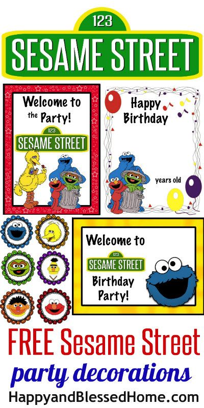 FREE Sesame Street Birthday Party Decorations including signs, toppers and more HappyandBlessedHome.com | kid's birthday party | toddler birthday party | preschool party ideas | Cookie Monster | Elmo | Big Bird | Free Party Printables | FREE Party Decorations