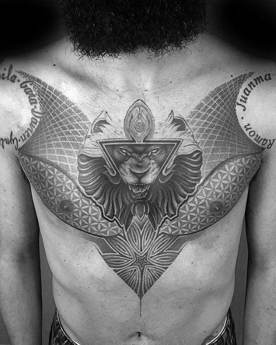 Mens Geometric Lion Head Triangle Chest Tattoo Ideas Geometrictattoos Chest Tattoo Men Geometric Tattoo Tattoos For Guys