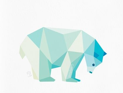 Polar bear, Geometric print, Original illustration, Animal print, Minimal art, Nursery wall art