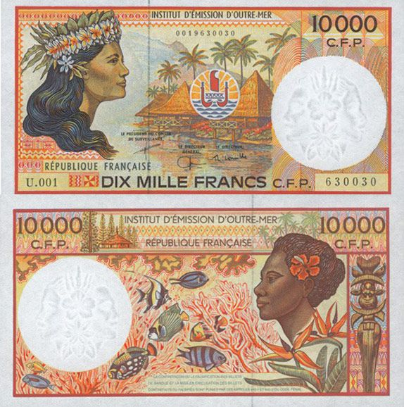 The currency of French Polynesia, New Caledonia, and Wallis and Futuna is the CFP Franc, which was introduced in 1945. Typically, one side of the banknote shows landscapes or historical figures of New Caledonia, while the other side features those of French Polynesia. The front of the bill pictured above depicts a coastal landscape of Huahiné and a French Polynesian Tahitian woman; the back shows coral and fish of New Caledonia, and a New Caledonian Melanesian woman wearing hibiscus flowers…