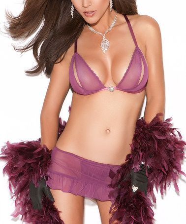 Look at this #zulilyfind! Purple Mesh Halter Bralette & G-String Skirt - Women #zulilyfinds
