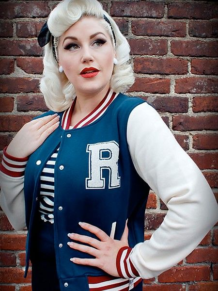 RUMBLE 59 - Ladies Sweat-Baselballjacke,blau Girl Baseball Sweatshirt Jacke