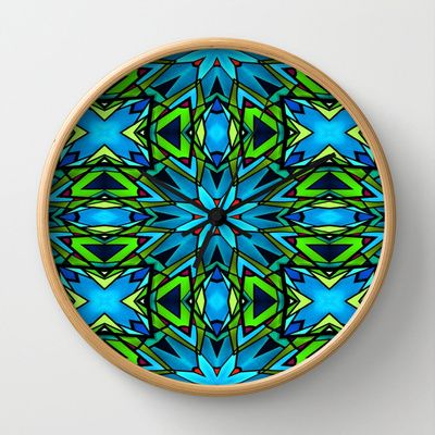 Blue and Green Stained Glass Wall Clock by Celeste Sheffey of Khoncepts - $30.00 (frame and hand colors can be changed)