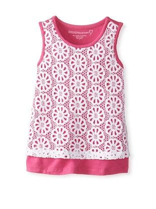 40% OFF Design History Girl's 2-6X Lace Tank Top (White/Peony)