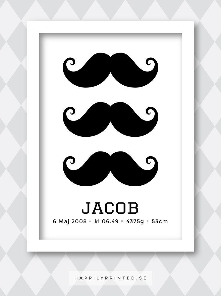 Fin födelsetavla med roliga mustascher. Personligt anpassat namn och födelsedata. Perfekt present till nyblivna föräldrar eller till namngiving och dop