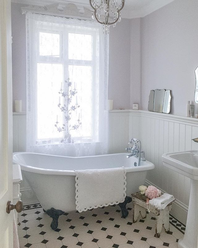 Photographic Gallery Instagram Post by Janet Parrella van den Berg white and faded Lilac BathroomVintage Bathroom DecorVintage BathroomsBathroom IdeasVictorian