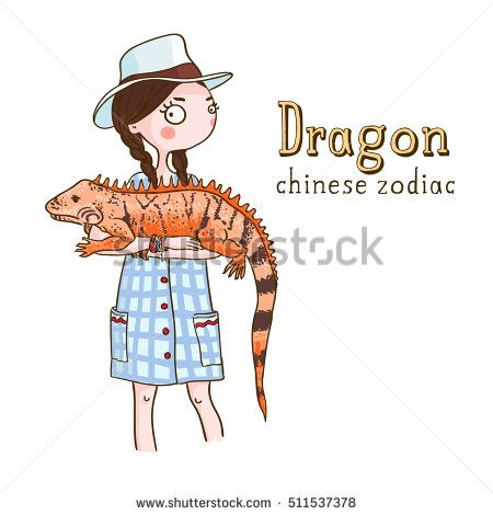 Cute girl holding dragon - symbols of chinese horoscope.