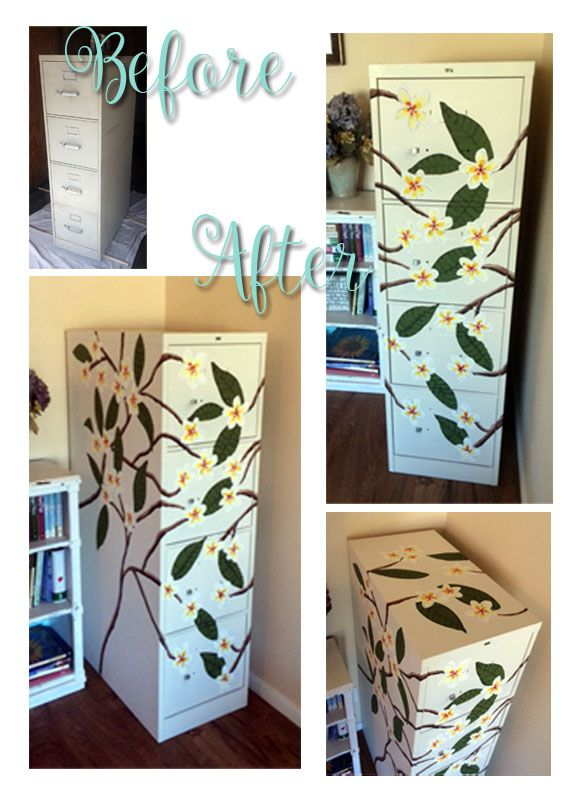 Painted file cabinet.