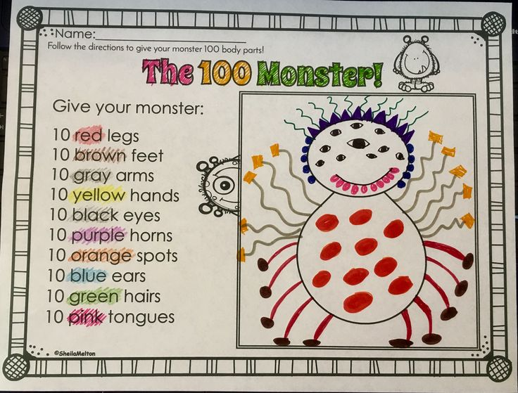 Your students will LOVE creating their own 100 Monster on the 100th day of school. Great for following directions.