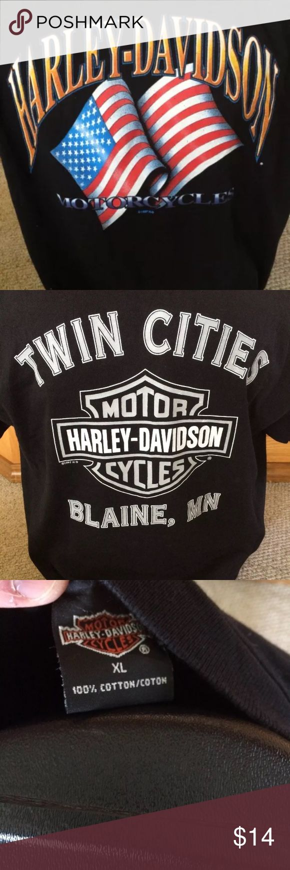 Harley Davidson USA flag t shirt twin cities Awesome US flag graphics front and twin cities back. Size xl. Good shape. Harley-Davidson Shirts Tees - Short Sleeve
