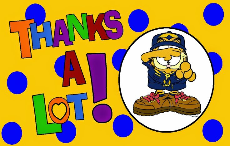 Cub Scout Garfield thank you card printable clip art image.  This site has a lot of great neckerchief slide ideas and also other great Cub Scout Ideas compliments of Akela's Council Cub Scout Leader Training: Utah National Parks Council has planned this exciting 4 1/2 day Cub Scout Leader Training. This fast-paced and inspiring training covers lots of Cub Scout Info and Webelos Outdoor Experience, Cub Scouts with disabilities and much more.