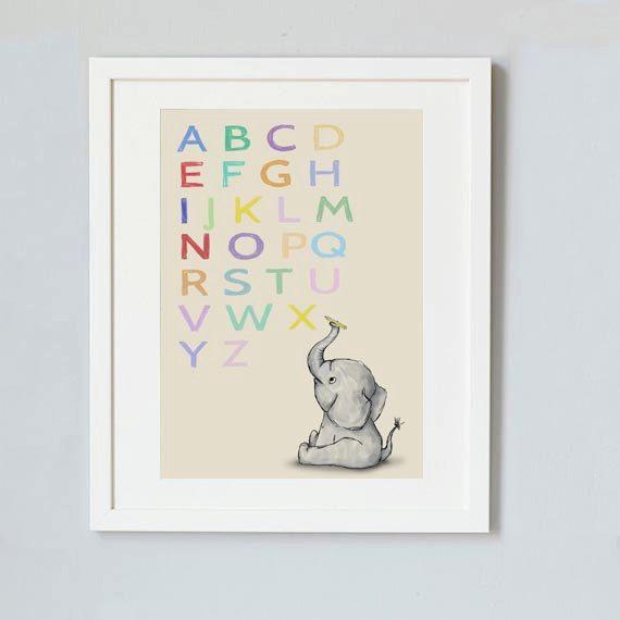 Alphabet print  Baby elephant nursery decor with by Shhadottedline #nursery #nurserydecor #educational #educationalart #babyelephant #babyshower #gift #print #nurseryprint