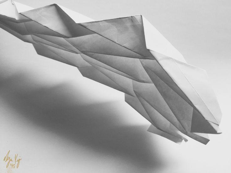 Programmed paper taking flight (Miura-Ori origami fold study)