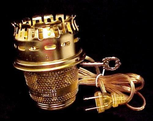 Brass Electric Burner Conversion for Aladdin Oil Lamp. Accepts Heelless Chimney fits models A, B, C, 21, 21C, 23, 23A.